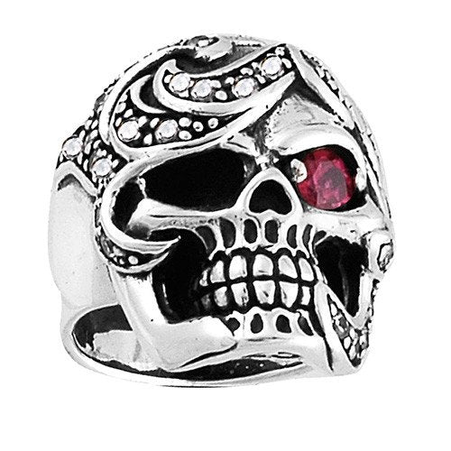 Skull Ring With Ruby Red Stone Eye And Clear Stones Around The Head (131)