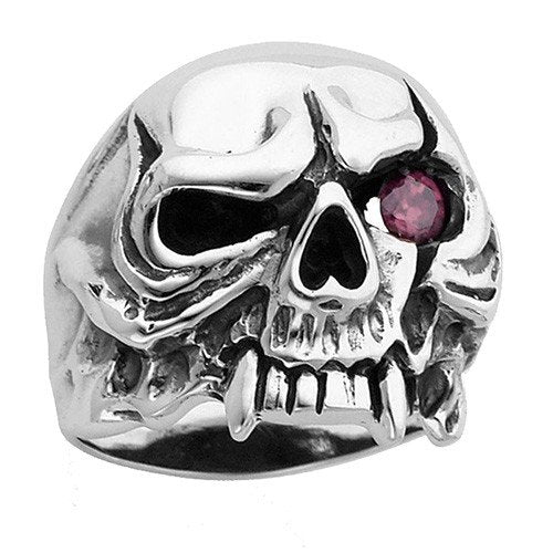 Stainless Steel Jawless Skull Ring With Flaming Red Eye & Fangs (136)