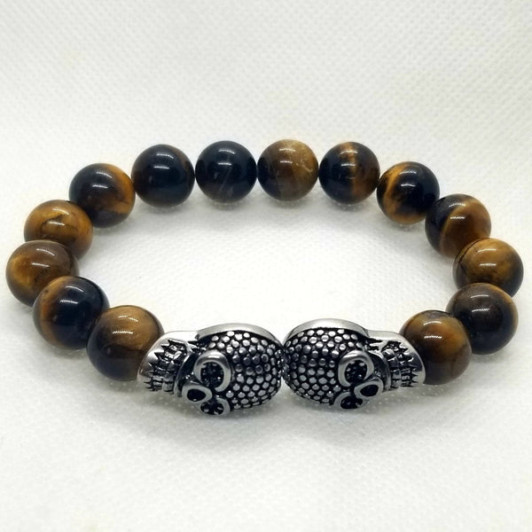 Double Skull 14 Beaded Tiger Eye Bracelet (sku#849)