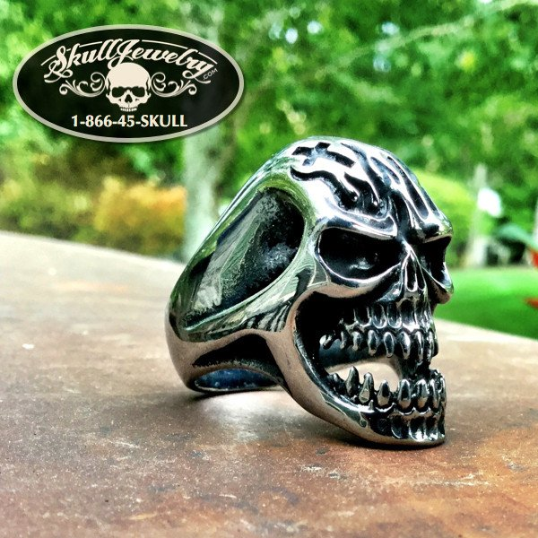 'Play With Fire' Stainless Steel Skull Ring with flames and a cross design on the head