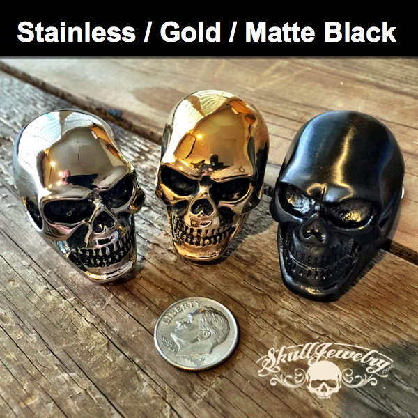 Stainless Steel Big And Heavy Skull Ring - Gloss Stainless Steel, Matte Black or Gold