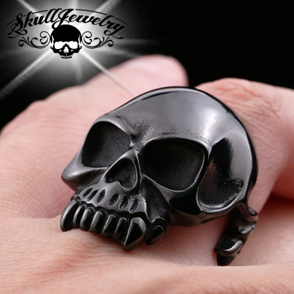 BLACK 'Into The Great Wide Open' Wide Mouth Skull Ring