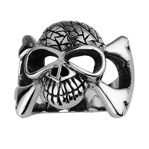 Skull Ring With Crossed Bones And A Cracked Head and hollow eyes