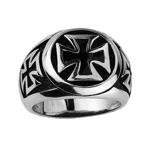 Stainless Steel Iron Cross Ring with Small Iron Crosses on the sides