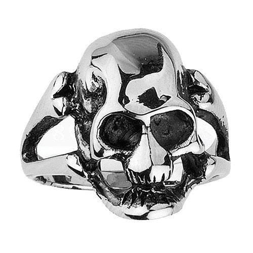 Small Stainless Steel Skull Ring with Crossed Bones
