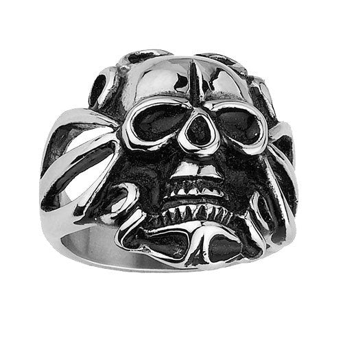 Stainless Steel Skull Ring With Hollow Edges