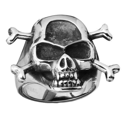 Stainless Steel Skull Ring with Crossed Bones