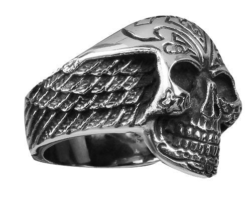 Stainless Steel Skull Ring With Side Feathered Wings (173)