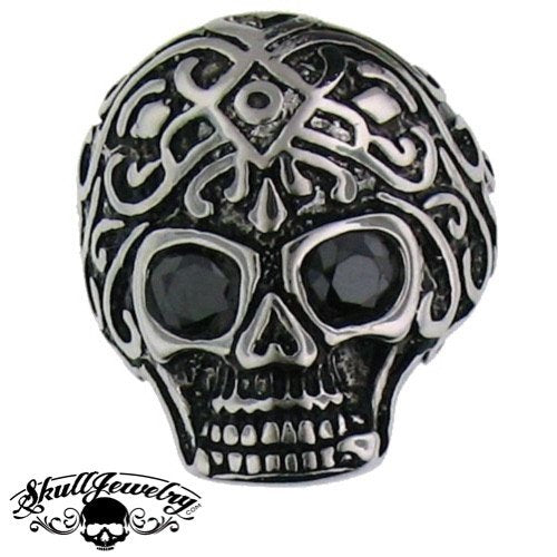 Stainless Steel Skull Ring With BLACK Stones In Both Eyes - Very Detailed and Ornate