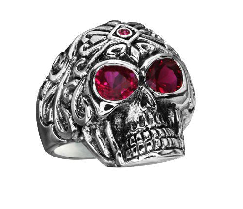 Stainless Steel Skull Ring With Ruby Red Eyes (183)
