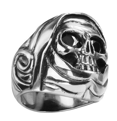 Stainless Steel Skull Ring With Black Stones On Eyes - Grim Reaper, Mask, Hood (185)