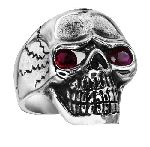 Classic Skull Ring With Black Stone Eyes And Cracks On The Sides (188)