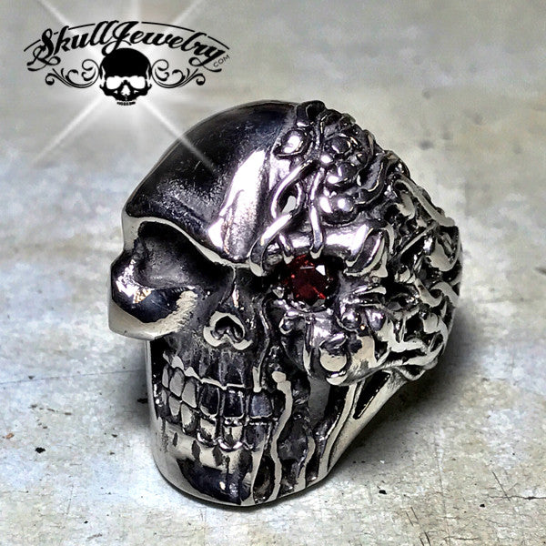 Melted Two Face Skull Ring
