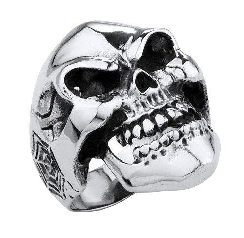 Smiling Evil Eyes Skull Ring With Spider Webs and Cigarette Butt (192)