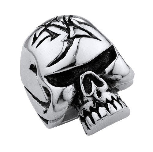 Stainless Steel Big Heavy Solid Jawless Skull Ring With Linear Design On The Head (193)