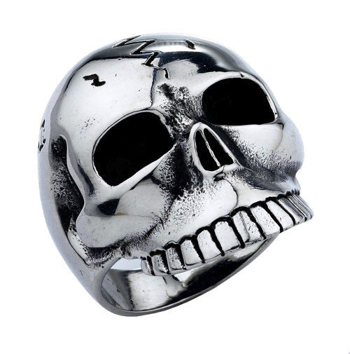 Stainless Steel Jawless Skull Ring With ZigZag Crack (194)