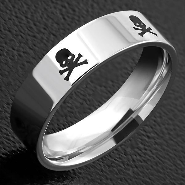 2-Tone Pirate Skull Crossbones Ring