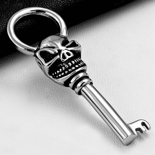 2-Tone Skull Ghost Skeleton Key Biker Pendant