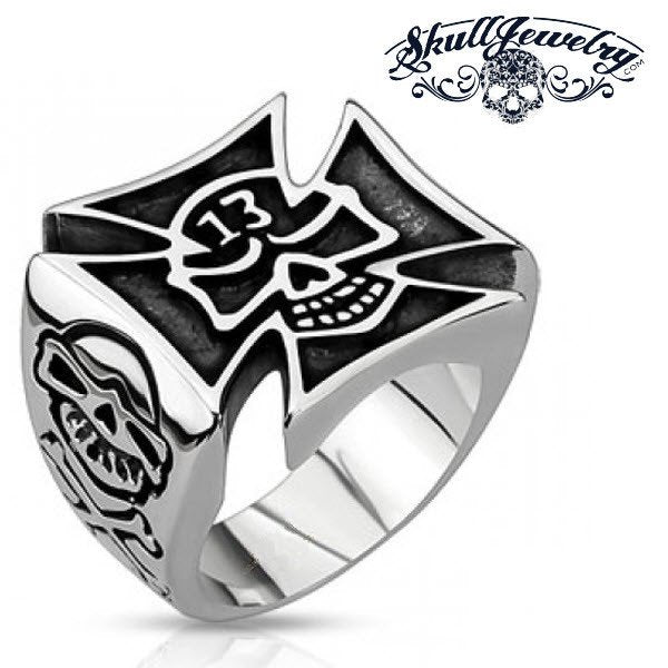2016 Lucky 13 Skull Celtic Cross Ring