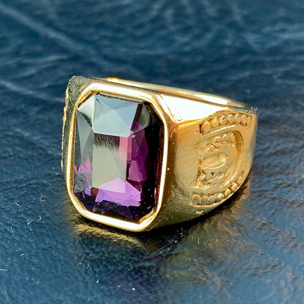 Purple Stone Gold-Tone Ring (c268)