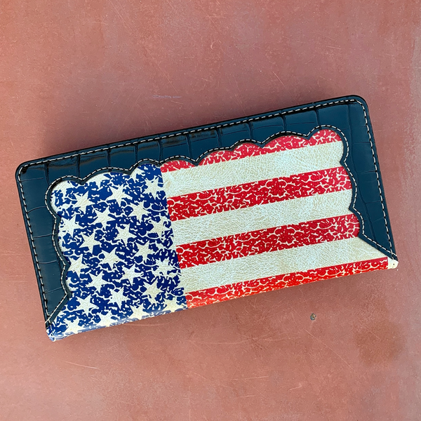 American Flag Check Book Wallet (wallet029)