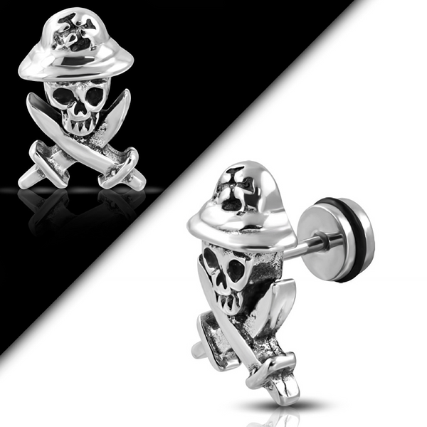 'Pirate Skull N' Swords' Earring (e041)