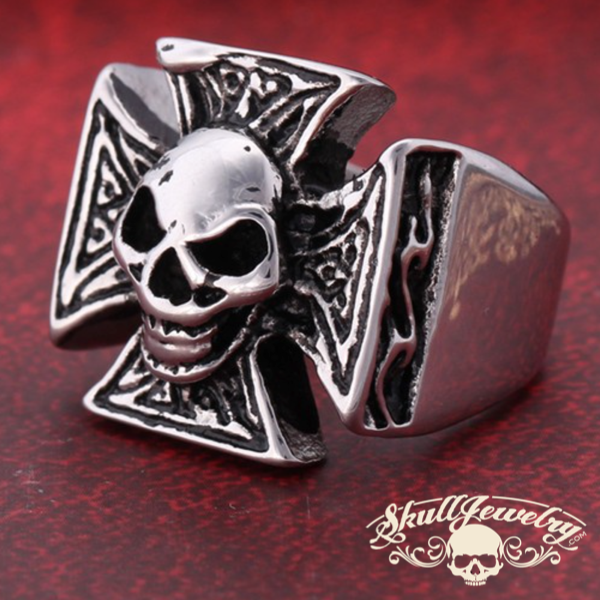 Stainless Steel Cynical Skull Celtic Cross Ring