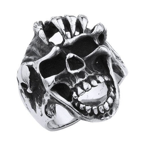 Screaming Skull Ring With Bony Fingers (202)