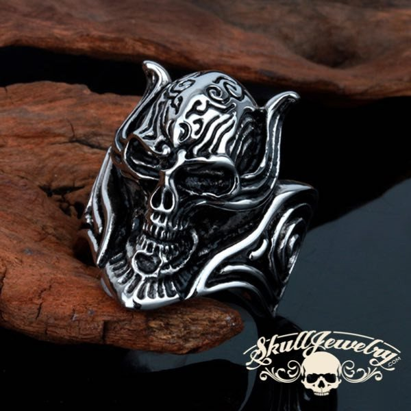 Skull Ring With Scrolls and Shields
