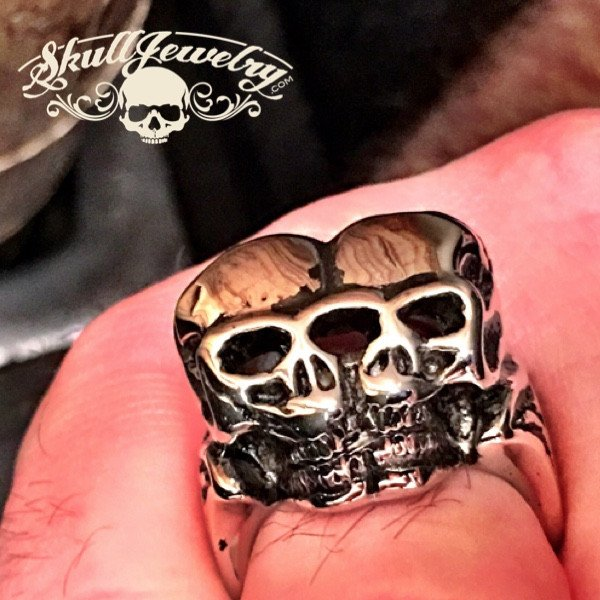 Big, Bold & Heavy 'Love Me Two Times' Skull Ring