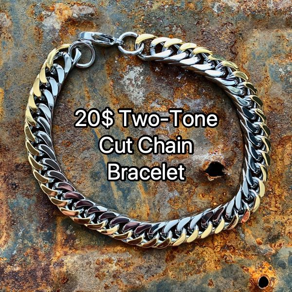 20$ Two-Tone Cut Chain Bracelet