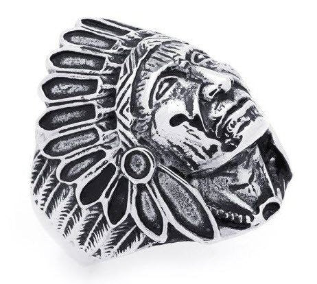 Apache Indian Chief Wide Cast Shield Ring (241)