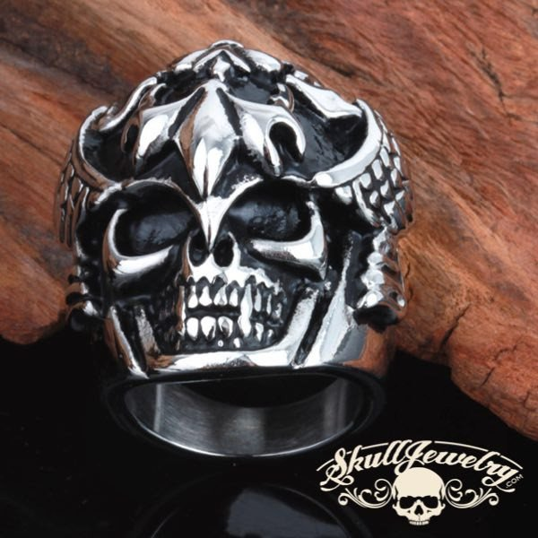 Stainless Steel heavy and solid Skull Ring with wings on the sides and fleur de lis design on the head