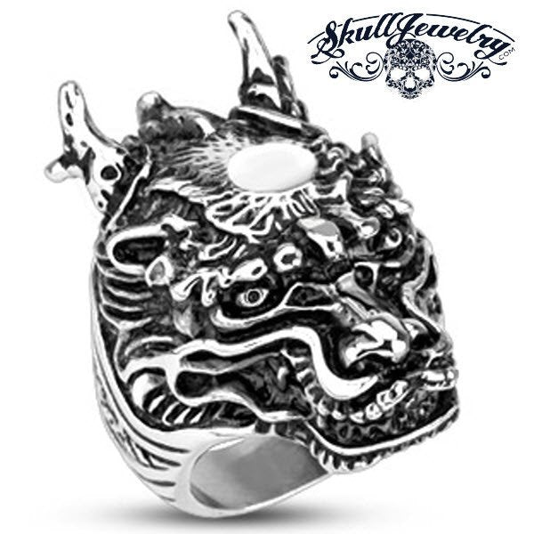 Legendary Dragon Stainless Steel Ring With Horns (370)