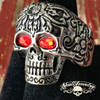 stainless steel day of the dead ring with red eyes