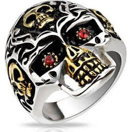 Stainless Steel Gold & Silver Skull Ring with Red Cubic Zirconia Eyes