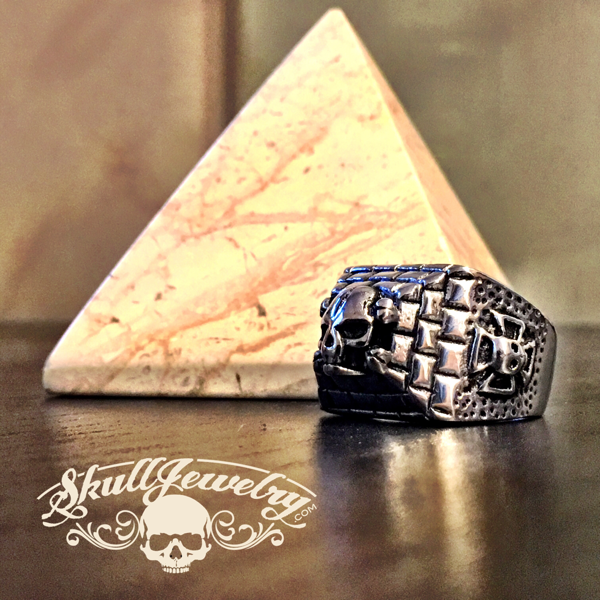 'Pyramid of Skulls' Stainless Steel Skull Ring