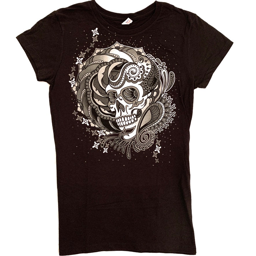 Black Sugar Skull Womans T-Shirt
