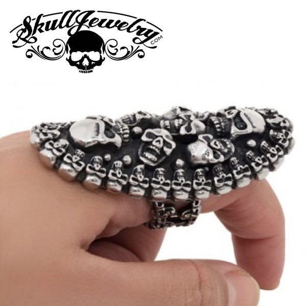 The Sky Is Crying' Multi-Skull LONG Ring with Black Gemstone Eyes