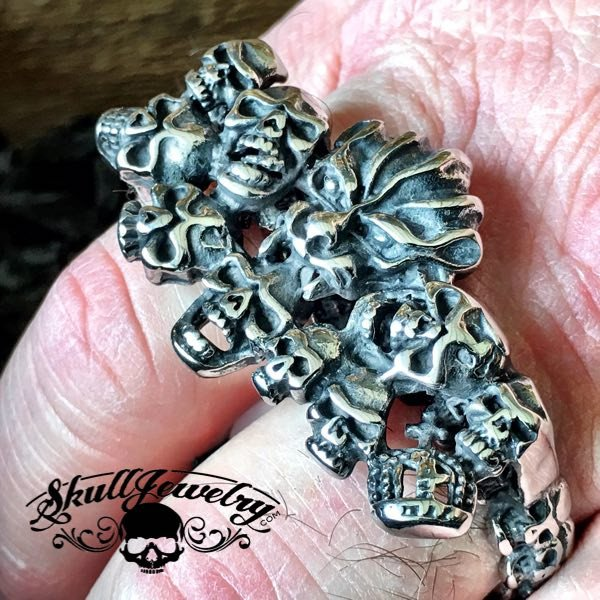 'Stand Back ' DOUBLE Skull Ring