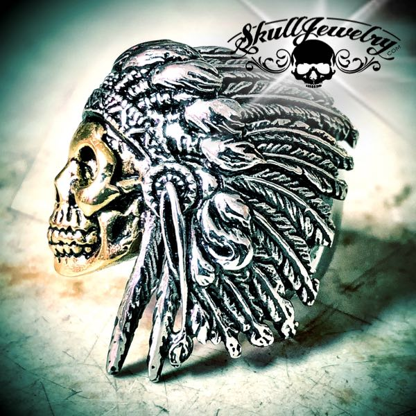 266 - fight to the death indian skull ring