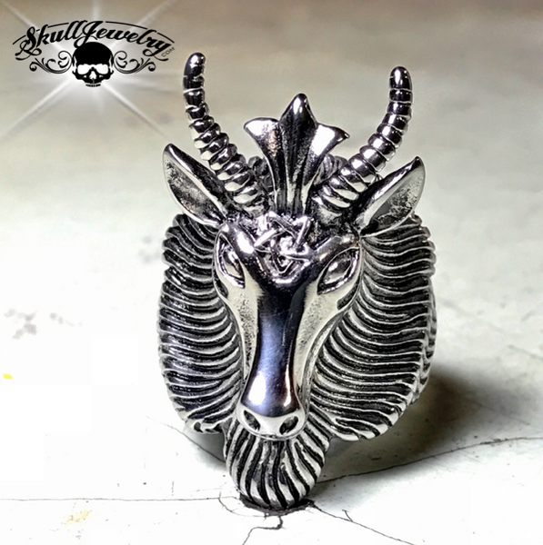 Goat Head With Horns Biker Ring
