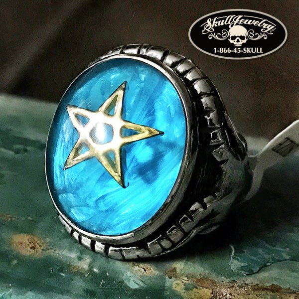 'Ocean Blue' Pentagram And Horned Goat's Head Ring
