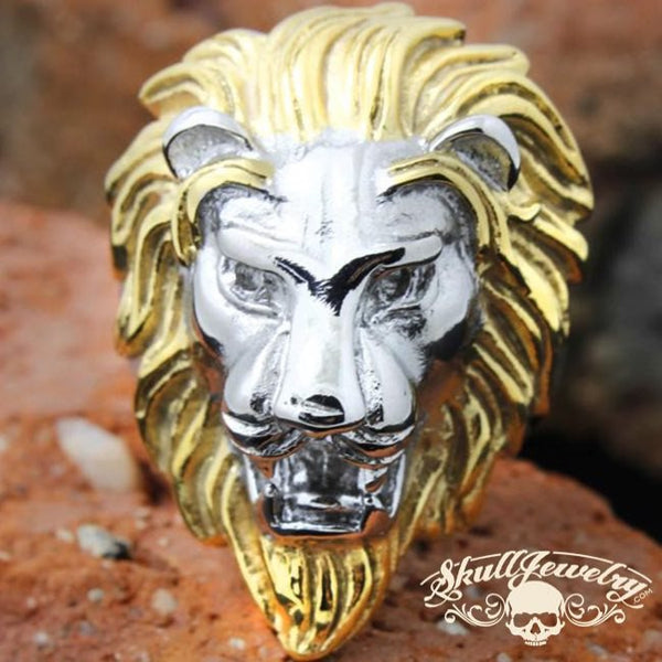 Gold/Silver 'King Leonidas' the Lion - Big, Bold & Heavy Ring (555)