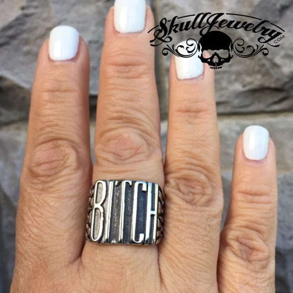 'Biker Bitch' Stainless Steel Ring