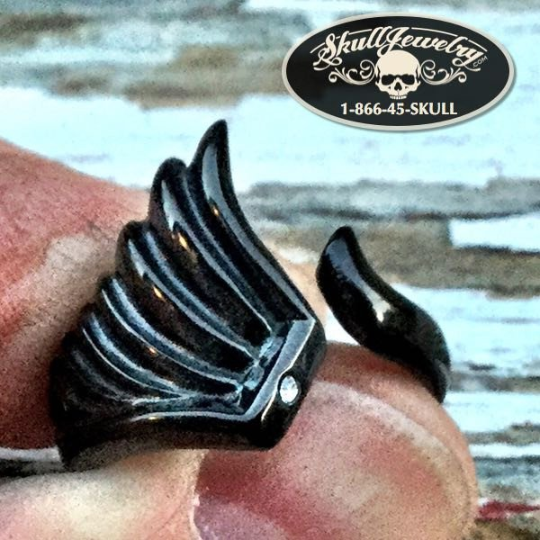 'Fallen Angel' Black Angel Wing Ring w/Cubic Zirconia