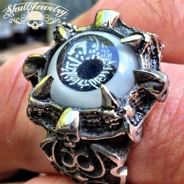 BLACK 'Evil Eye' Gothic Skull Dragon Claw Black Evil Eye Biker Ring