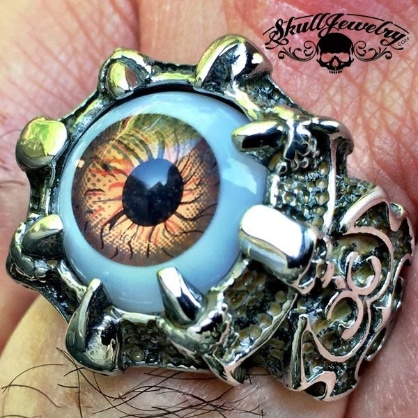 BROWN 'Evil Eye' Gothic Skull Dragon Claw Black Evil Eye Biker Ring