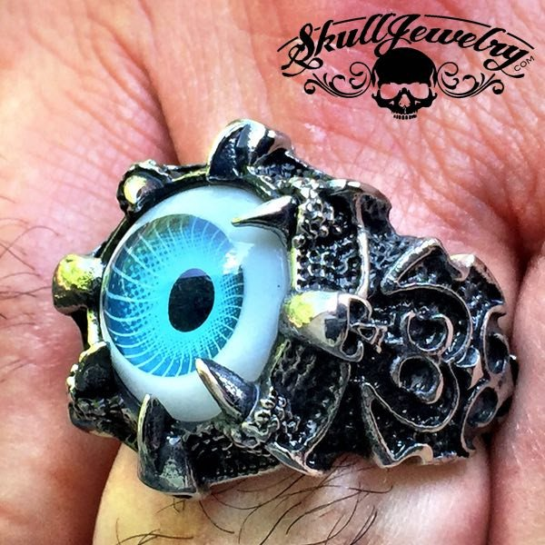 BLUE 'Evil Eye' Gothic Skull Dragon Claw Black Evil Eye Biker Ring