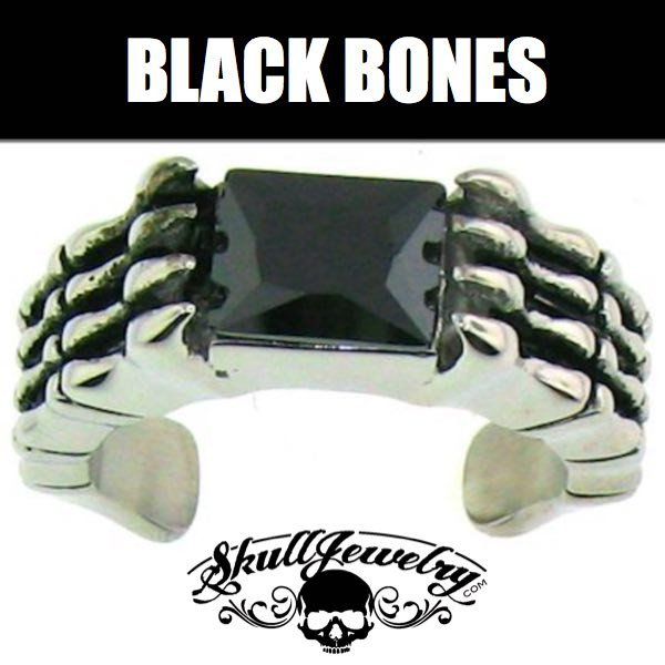 'Black Bones' Stainless Steel Ring with Black Gemstone